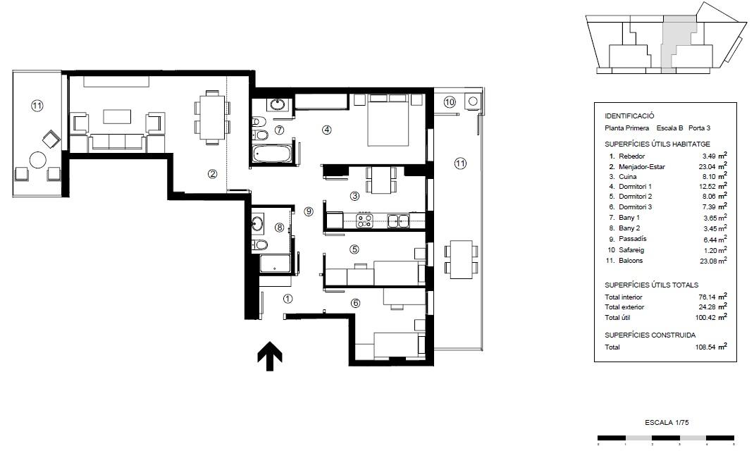 Tipo 3 B:  ¡Último piso a la venta!